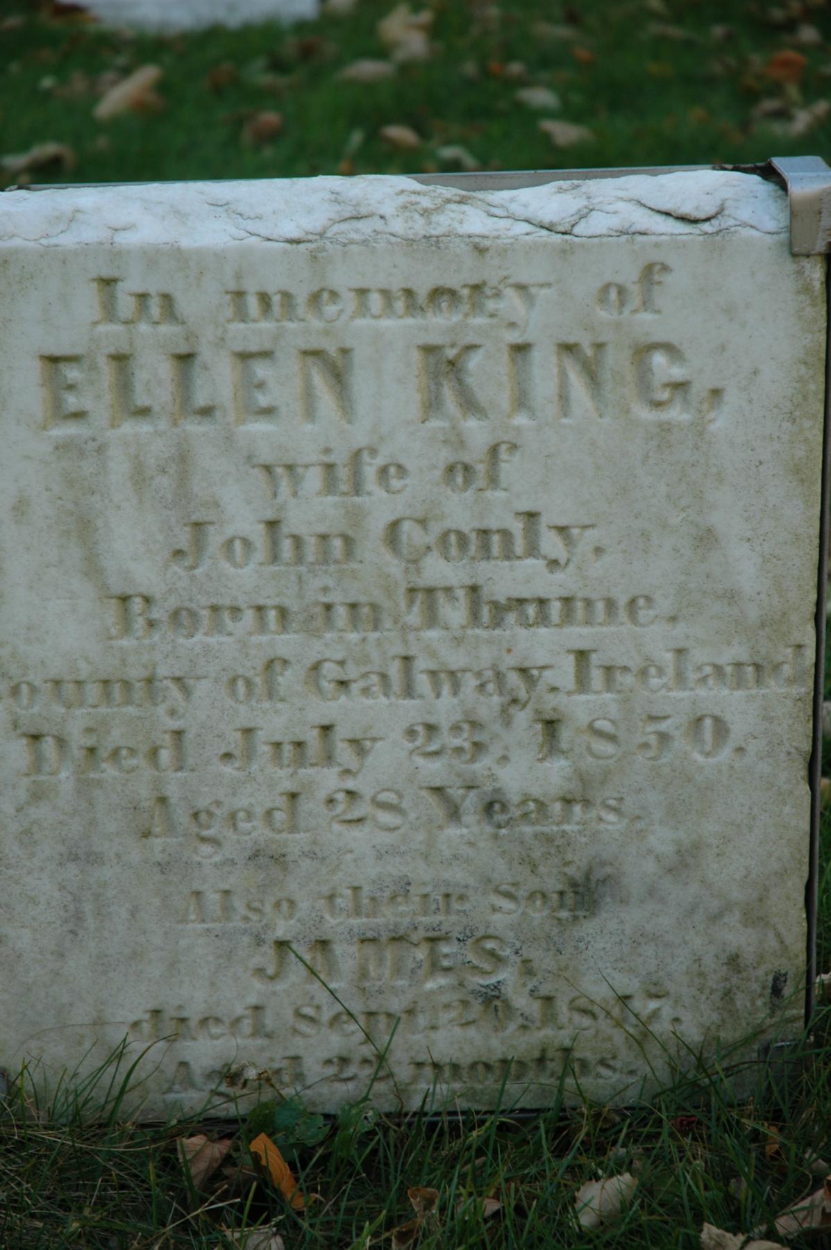 Tombstone of Ellen King 1850