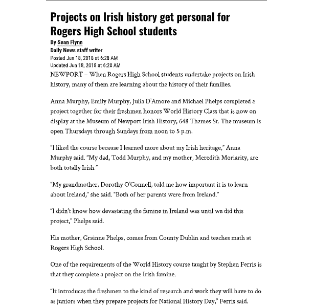 Newport Daily News – Family History: Projects on Irish history get personal for Rogers students
