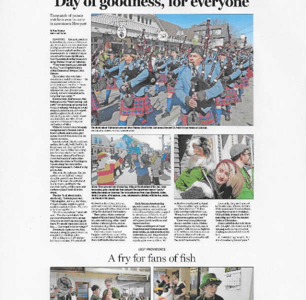 """The Providence Journal – """"Newport St. Patrick's Day Parade: 'A day of goodness, for everyone'"""""""