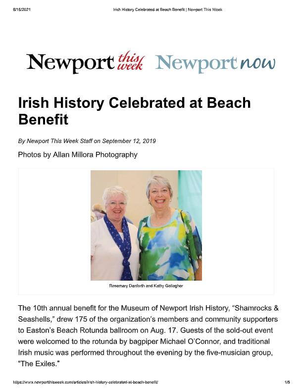 2019_09_12 Irish History Celebrated at Beach Benefit _ Newport This Week