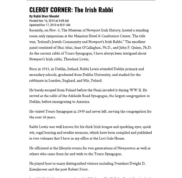 """Newport Daily News – """"The Irish Rabbi"""""""