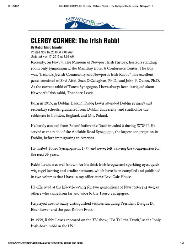 2019_11_11 CLERGY CORNER_ The Irish Rabbi