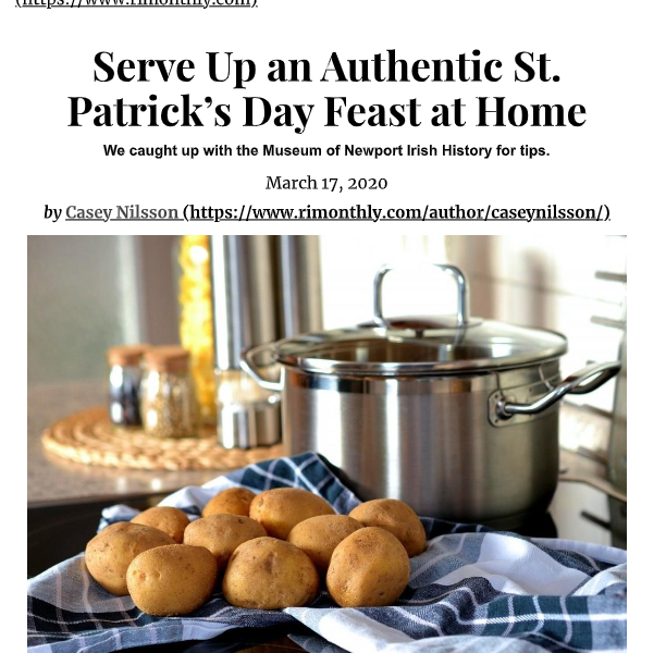 """Rhode Island Monthly.com – """"Serve Up an Authentic St. Patrick's Day Feast at Home"""""""