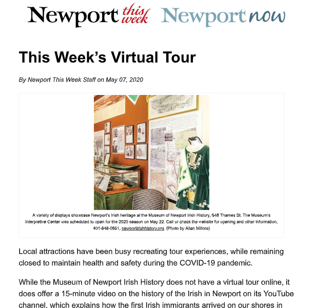 "May 7, 2020 – Newport This Week ""This Week's Virtual Tour"""