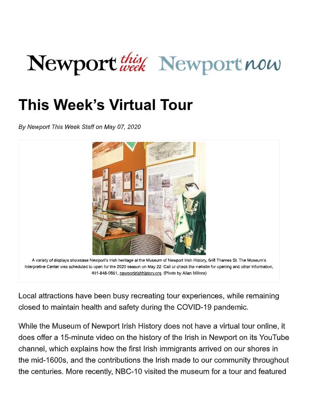 2020_05_07 This Weeks Virtual Tour