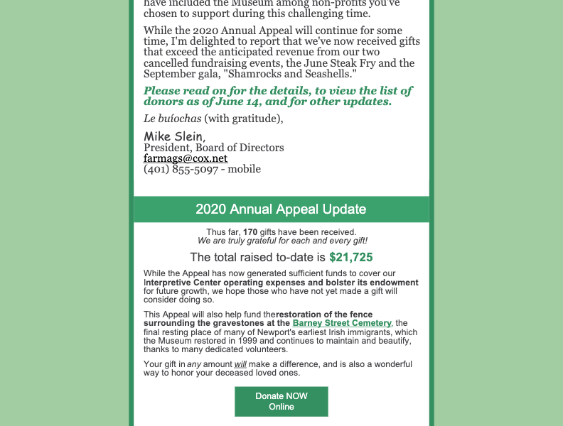 Annual Appeal Update: What an inspired response!