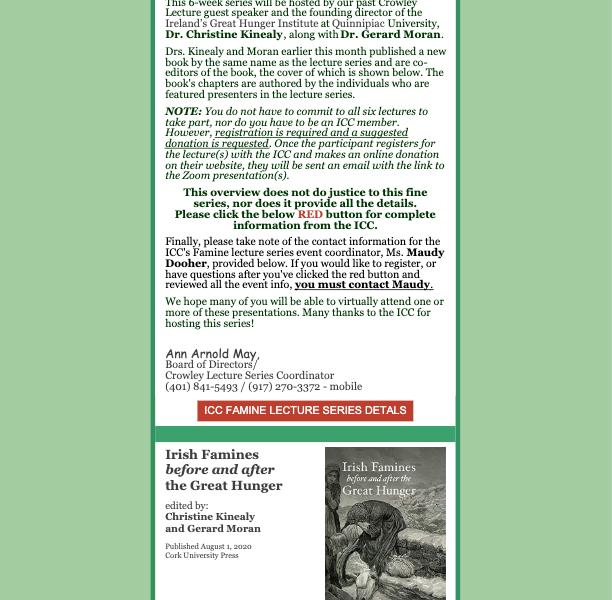 "Irish Famine ""Virtual"" Lecture Series announced by Irish Cultural Centre of N.E."