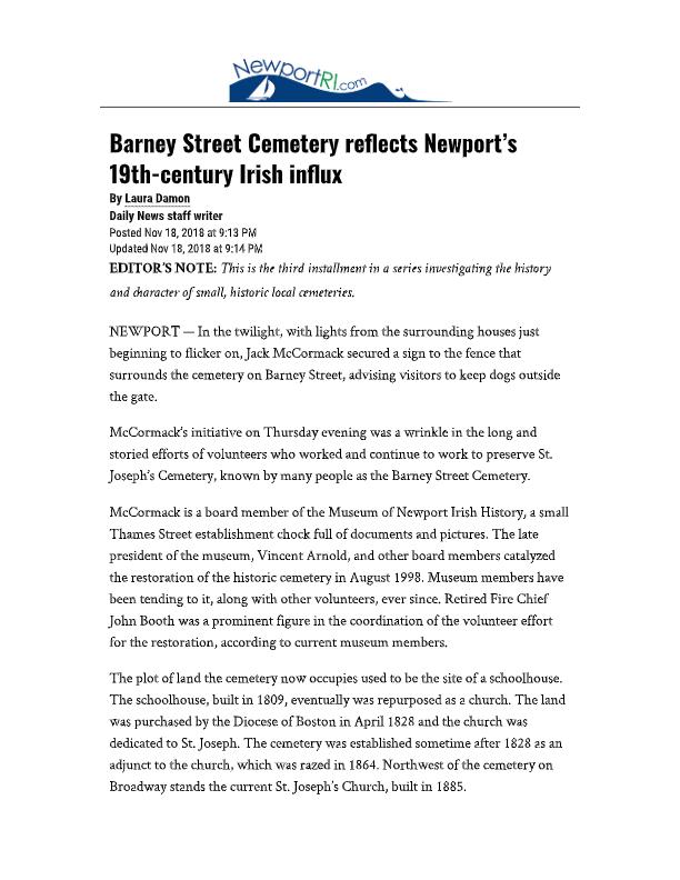 Barney Street Cemetery reflects Newport