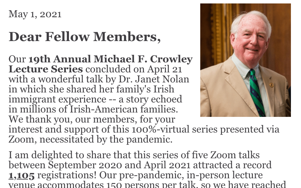 19th Annual Crowley Lecture Series reaches a record audience….Welcome to our new members
