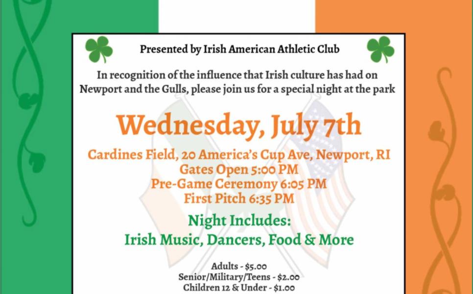 Irish-American Night at Cardines Field with the Newport Gulls on July 7